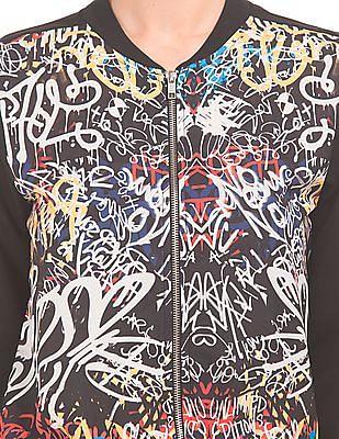 SUGR Graffiti Print Bomber Jacket