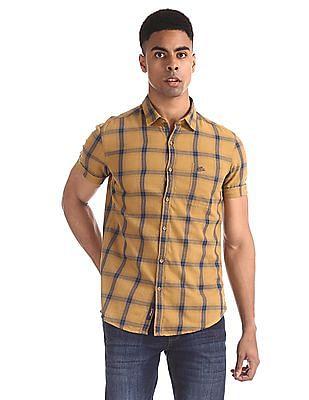U.S. Polo Assn. Denim Co. Yellow Slim Fit Check Shirt