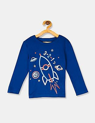 GAP Blue Toddler Boy Crew Neck Graphic T-Shirt
