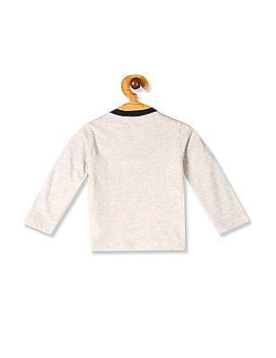 Donuts Grey Boys Appliqued Henley T-Shirt