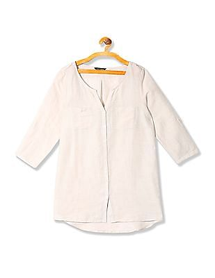 Arrow Woman Linen Mandarin Collar Shirt
