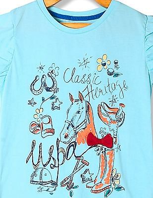 U.S. Polo Assn. Kids Girls Printed Bow Top