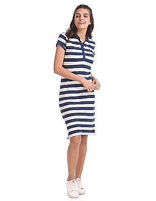 U.S. Polo Assn. Women Striped Pique Polo Dress