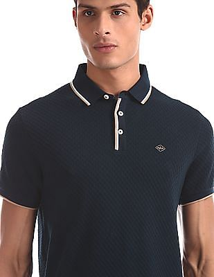 Arrow Sports Blue Regular Fit Textured Polo Shirt