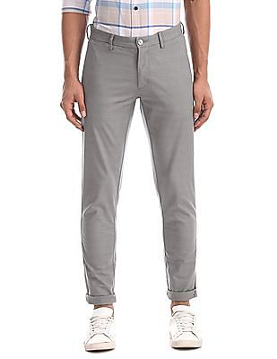 U.S. Polo Assn. Grey Austin Trim Regular Fit Tonal Check Trousers