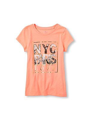 The Children's Place Girls Pink Short Sleeve 'NYC Paris Love' Graphic Tee