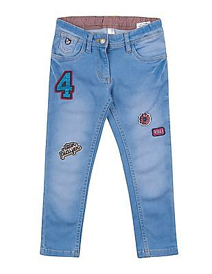 U.S. Polo Assn. Kids Girls Appliqued Washed Jeans