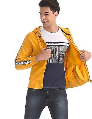 Flying Machine Yellow Drawstring Hood Brand Taping Sweatshirt