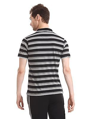 Ruggers Black And Grey Ribbed Collar Striped Polo Shirt