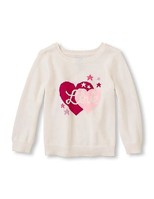 The Children's Place Baby Girl White Round Neck Long Sleeve Sweater