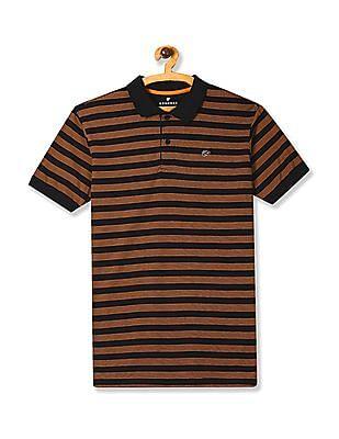 Ruggers Orange And Black Horizontal Stripe Polo Shirt