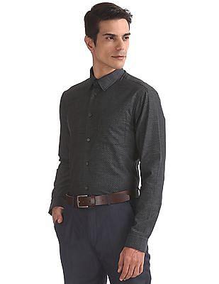 Arrow Newyork Slim Fit Patterned Weave Shirt