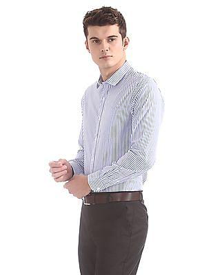 Excalibur Semi-cutaway Collar Striped Shirt
