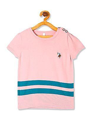 U.S. Polo Assn. Kids Girls Striped Knit Top