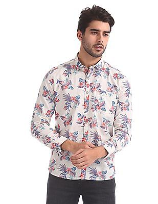 Flying Machine Floral Print Long Sleeve Shirt