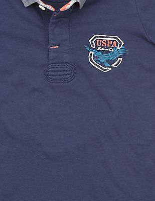 U.S. Polo Assn. Kids Boys Printed Back Regular Fit Polo Shirt