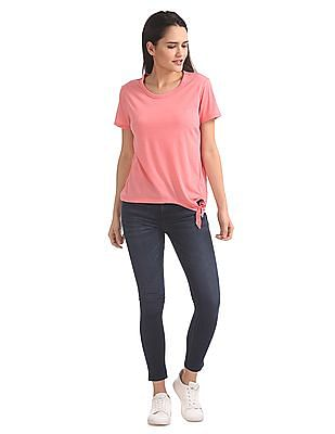 Aeropostale Heathered Tie Hem Top