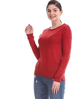 Aeropostale Red Crew Neck Star Knit Sweater