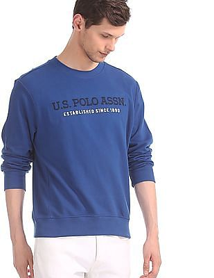 U.S. Polo Assn. Blue Embroidered Front Crew Neck Sweatshirt