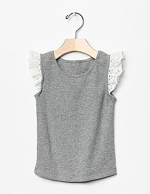 GAP Baby Grey Eyelet Lace Flutter Tee
