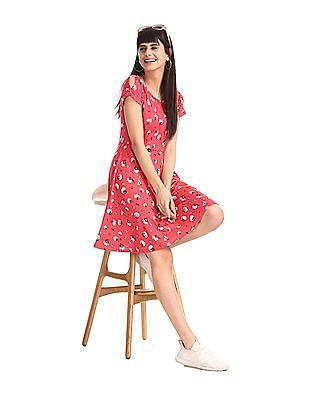 SUGR Pink Floral Print Skater Dress