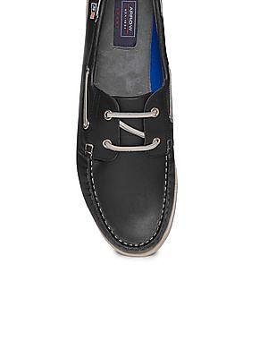 Arrow Sports Round Toe Leather Boat Shoes