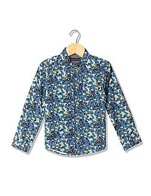 Cherokee Boys Mandarin Collar Printed Shirt