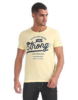 Flying Machine Contrast Print Slub T-Shirt
