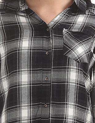 Cherokee Spread Collar Tie Up Front Top