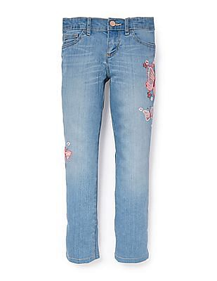 The Children's Place Girls Butterfly Sequin Embroidered Super Skinny Jeans