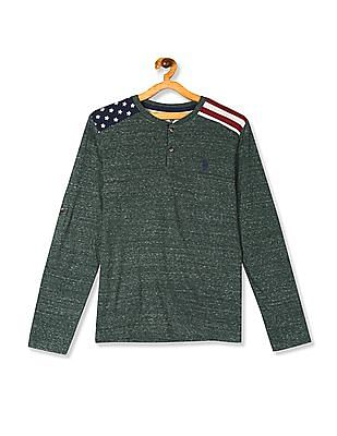 U.S. Polo Assn. Kids Green Boys Shoulder Panel Heathered Henley T-Shirt