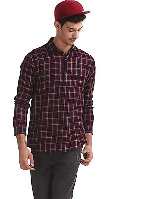 Roots by Ruggers Red Cutaway Collar Check Shirt