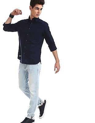 Ed Hardy Blue Spread Collar Solid Shirt