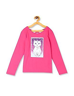 The Children's Place Pink Girls Long Sleeve Flip Sequin Graphic Cross Back Top