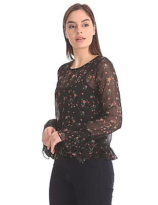SUGR Ruffle Trim Printed Top With Camisole
