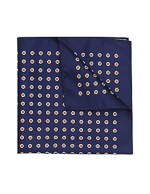 Arrow Contrast Print Woven Pocket Square
