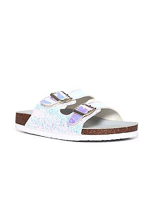 Stride Silver Buckled Holographic Strap Sandals