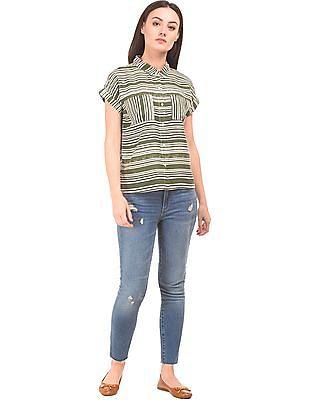 SUGR Striped Roll Sleeve Boxy Shirt