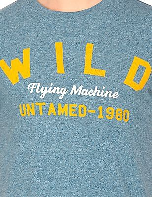 Flying Machine Printed Front Grindled T-Shirt