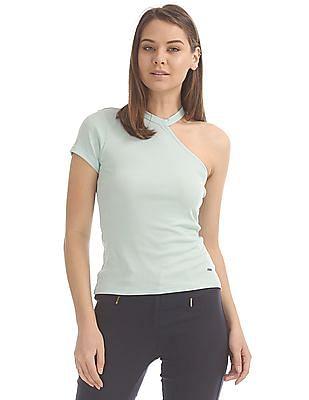 Elle One Shoulder Ribbed Top