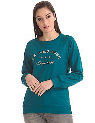 U.S. Polo Assn. Women Raglan Sleeve Brand Embroidered Sweatshirt