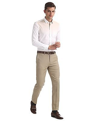 Arrow Beige Tapered Fit Flat Front Trousers