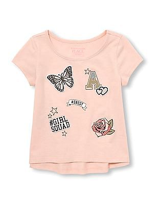 The Children's Place Baby And Toddler Girl Short Sleeve Glitter Patch Graphic Hi-Low Top