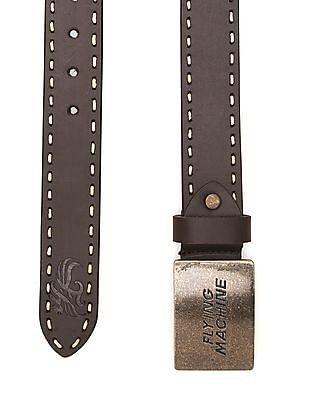 Flying Machine Border Stitch Leather Belt