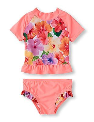 The Children's Place Toddler Girl Short Raglan Sleeve Floral Photo-Real Rashguard And Ruffle Bikini Bottom Two-Piece Swimsuit