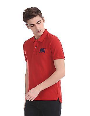 Flying Machine Short Sleeve Pique Polo Shirt