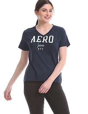 Aeropostale Blue V-Neck Brand Graphic T-Shirt
