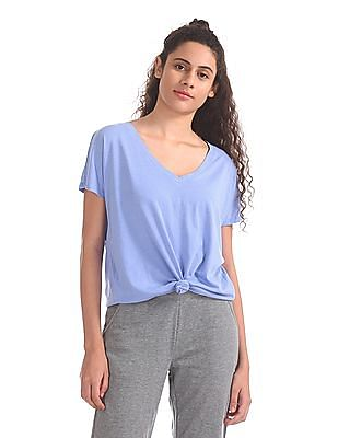 Aeropostale Curved Hem V-Neck Top
