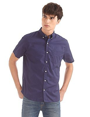 GAP Print Poplin Short Sleeve Shirt in Stretch