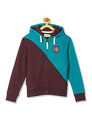 U.S. Polo Assn. Kids Boys Colourblocked Hooded Sweatshirt